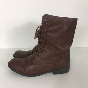 Rampage Brown Jepson Combat Lace Up Boots